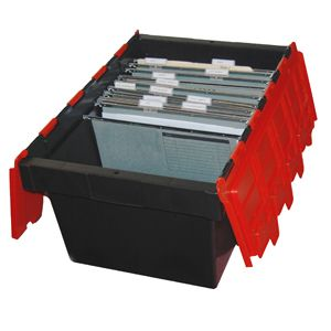 68L Black/Red Security Crate with Lid