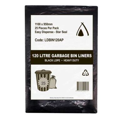 120L Heavy Duty LDPE Star Seal Bin Liner (Black)