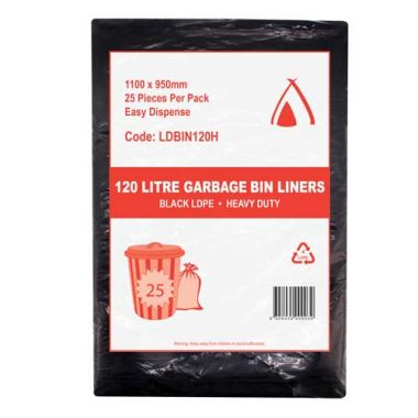 120L Heavy Duty LDPE Bin Liner (Black)