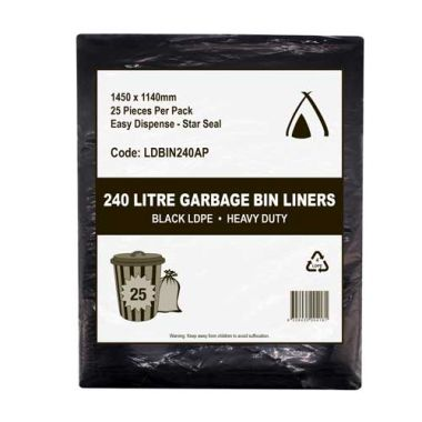 240L Heavy Duty LDPE Star Seal Bin Liner (Black)