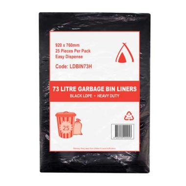 73L Heavy Duty LDPE Bin Liner (Black)