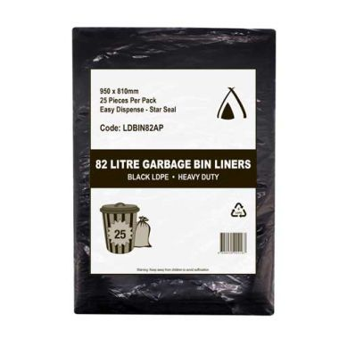 82L Heavy Duty LDPE Star Seal Bin Liner (Black)